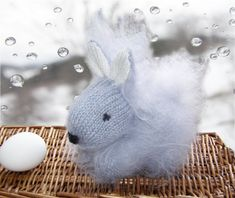 Easter Gray Bunny - Cute Fluffy Rabbit - Hand Knitted Bunny - plush Stuffed Animal Baby Toy -  Mohair baby shower gift - Child gift