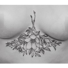 Sternum tattoos are the most kick ass tattoos a woman could get. Look at this sublime floral sternum tattoo. Piercing Tattoo, S Tattoo, Tattoo Trend, Body Art Tattoos, Hand Tattoos, Sternum Tattoos, Mandala Sternum Tattoo, Lace Tattoo, Tiger Tattoo