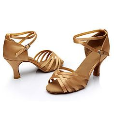 9fde640fe Mujer Zapatos de Baile Latino   Salón Seda Sandalia   Zapatilla Hebilla    Corbata de Lazo