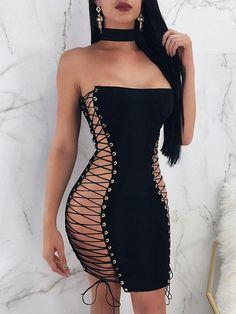 >>>Cheap Sale OFF! >>>Visit>> Black Cross Lace-up Bandeau Off Shoulder Backless Bodycon Clubwear Mini Dress Tight Dresses, Club Dresses, Sexy Dresses, Bandage Dresses, Mini Dresses, Cheap Dresses, Mode Outfits, Fashion Outfits, Dress Fashion
