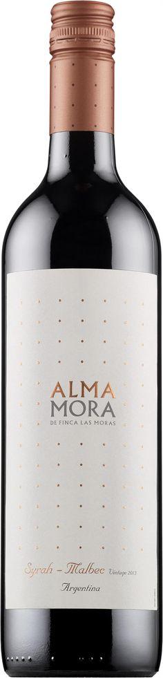 Alma Mora Shiraz-Malbec 2013 punaviini punkku keskitäyteläinen pehmeä lohtujuoma 8,49 e