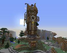 Minecraft Steampunk, Le Moulin, Burj Khalifa, Building, Drawing Tutorials, Steampunk House, Big Houses, Clock, Buildings