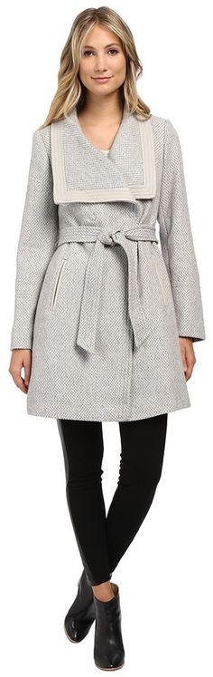 Jessica Simpson Basketweave Wrap Coat