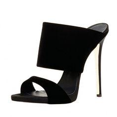 5d937d125c6 FSJ Black Suede Mule Heels Open Toe Trending Office Heels