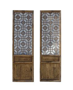 Pair Chinese Vintage Wood Geomatric Wall Panel Headboard Accent - Golden Lotus Antiques