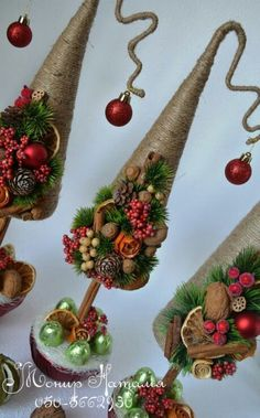 Christmas Holiday paper mache Cone Yarn Trees with berry, holly, frosted branch garland, tabletop ho Rustic Christmas, Christmas Art, Christmas Projects, Christmas Holidays, Miniature Christmas, Cone Christmas Trees, Xmas Ornaments, Christmas Wreaths, Art Floral Noel