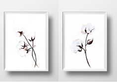 White cotton flowers Set of 2 minimalist by Sweepinggirl on Etsy