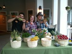 Three coordinators from Sunrise at Gardner Park helping out at the Taste of Sunrise Farmer's Market event!