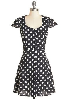 Dot Pursuit Dress - White, Polka Dots, Buttons, Cutout, Casual, A-line, Cap Sleeves, Woven, Good, Sweetheart, Mid-length, Black