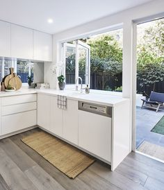 Real home: townhouse transformed with Scandi touches - The Interiors Addict Kitchen Window Bar, New Kitchen, Kitchen Cabinets, Kitchen Sink, Kitchen Interior, Home Interior Design, Kitchen Decor, Outdoor Kitchen Design, Modern Kitchen Design