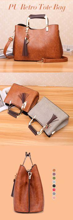 US$28.87  Women PU Leather Tote Bag Retro Crossbody Bag