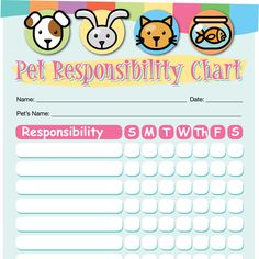 Pet Responsibility Chart - iMom