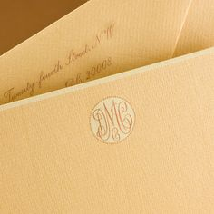 Bespoke Stationery | Chamois Empire Card with Sweet Cream Border and Sweet Cream and Copper Monogram.