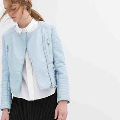 Zara faux leather jacket Light blue faux leather jacket from zara. Perfect condition, worn once, size small. Cheaper on Ⓜ️ercari Zara Jackets & Coats