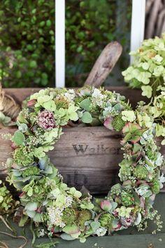 pretty wreath - inspiration only. Green Wreath, Floral Wreath, Hydrangea Wreath, Deco Nature, Bouquet, Deco Floral, Autumn Wreaths, Wreath Crafts, Summer Wreath