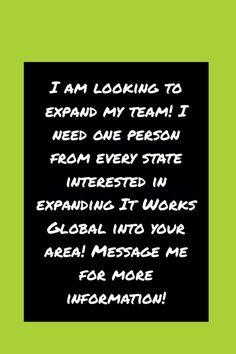 Looking for Distributors to help build my It Works! team!!! Need at least one from each state!!! Go to: http://www.saraspark89.myitworks.com to join or Email me: saraspark89@yahoo.com for questions! #lousiana #michigan #montana #minnesota #massachusetts #virginia #westvirginia #vermont #newhampshire #newyork #northcarolina #alabama #alaska #arizona #connecticut #california #colorado #delaware #florida #ohio #kentucky #tennessee #arkansas #georgia #hawaii #iowa #indiana #illinois #idaho…