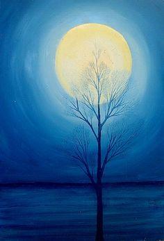 La luna y el árbol. Oleo sobre macocel. 60x41cms. 2007. Jesús Martínez.