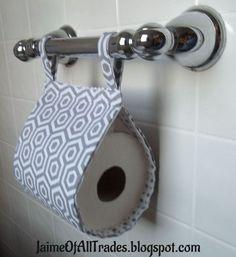 fabric toilet paper holder, bathroom ideas, crafts, storage ideas