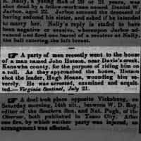 1856 John Hutson / Hudson kills Hugh Means