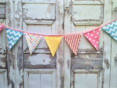 Fabric Bunting Flags Pink Red Aqua Yellow Carnival by BooBahBlue