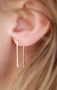 Gold Filled Ear Pins, Horseshoe Earrings, Gold Wire Earrings, Minimalist…