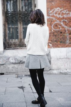 Style - Minimal + Classic Grey pleated skirt! Black wool tights or black opaque tights with black ankle boots.