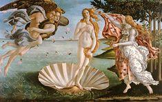 Sandro Botticelli - El nacimiento de Venus. Es de la epoca renacentista del Quattrocento S/ XV. De tema religioso, se usa la perspectiva, y es al oleo