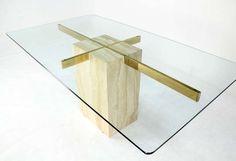 Travertine Pedestal Base Glass Top Mid Century Modern Dining Table ...