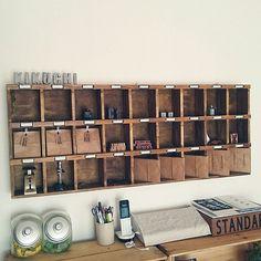 niko and… /りんご箱/DIY/セリア/漆喰壁/こんくりさん。…などのインテリア実例 - 2016-07-16 08:26:59 | RoomClip(ルームクリップ) Niko And, Wine Rack, Organization, Display, Storage, Interior, Aquarium, Room, Crafts