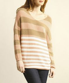 Take a look at this Green & Pink Stripe Scoop Neck Sweater by Young Threads on #zulily today! Misses Clothing, Pink Stripes, Scoop Neck, My Style, Casual, Green, Sweaters, Clothes, Fashion