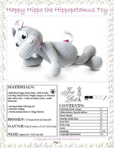 us Amigurumi Toy Stuffed Animal Crochet Pattern in PDF by Ira Rott