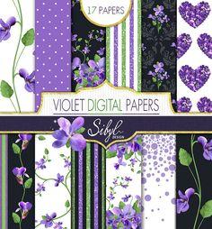 60% OFF SALE Spring Floral Digital Papers Violet by SibylDesign