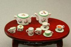 A dolls house tea set made from paper in a hellebore (Christmas Rose) pattern. - Photo ©2008 Lesley Shepherd, Licensed to About.com Inc.