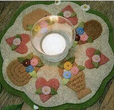 Bareroots Basket Candle Mat Wool Felt Pattern
