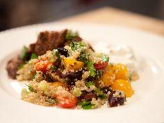 Greek Quinoa Salad recipe (I added chopped mint and marinated artichokes) from Bobby Flay via Food Network