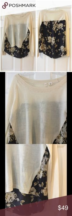 """Moth mixed media hi low sweater This beautiful Anthro lightweight sweater features a 100% silk floral juxtaposed with a cream wool blend. Underarm across 18"""". Length 22-27"""". Excellent condition. Anthropologie Sweaters Crew & Scoop Necks"""