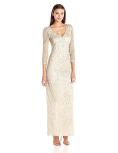 JS Collection Women's Three-Quarter Sleeve Sequined Gown with Tonal Beading *** Want additional info? Click on the image. (This is an affiliate link and I receive a commission for the sales)