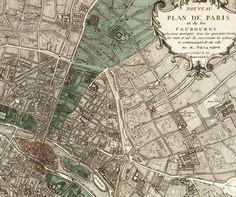 """Antikes Paris Karte """"Plan de Paris"""" - viktorianischen French Vintage Karte graviert - elegantes Grau Green Map"""