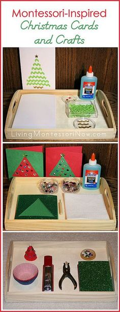 Simple ideas for preparing Montessori-inspired trays for Christmas cards and crafts (and for turning regular craft activities into Montessori-oriented activities). Post also includes the Montessori Monday link-up collection.