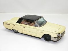 Vintage Tin Toy BANDAI FORD THUNDERBIRD Hardtop With OPENING DOOR Rare Old Toy
