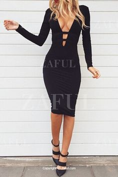 Black Plunging Neck Long Sleeve Bodycon Dress BLACK: Bodycon Dresses | ZAFUL