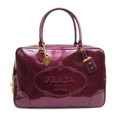 ee11bf888a €176.00 Real Prada Patent Leather Daino Bowler Bag Br3016 Purple Online  Shopping