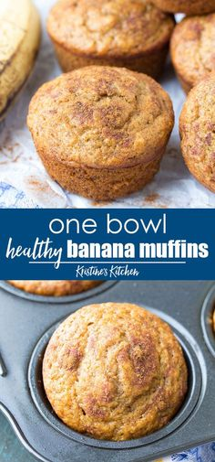 Easy Healthy Banana Muffins Recipe, made in one bowl! One of my most popular recipes, these best banana muffins are whole wheat and refined sugar free. Made with cinnamon and mashed banana, you can make them regular or mini muffin size. Easy Healthy Banana Muffin Recipe, Healthy Muffins, Banana Bread Recipes, Healthy Sweets, Healthy Baking, Easy Healthy Deserts, Healthy Brunch, Healthy Sugar, Healthy Nutrition