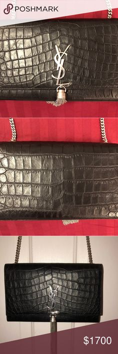 5119439b0caf Monogram YSL Chain Wallet in black crocodile Worn twice in great condition.  Purchased at the Yves Saint Laurent store at South Coast Plaza in Costa  Mesa