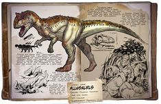 Ark: Survival Evolved Dossiers: Allosaurus by Dinosuarjosh on DeviantArt Dinosaur Sketch, Dinosaur Art, Prehistoric World, Prehistoric Creatures, Game Ark Survival Evolved, Game Character Design, Fantasy Creatures, Sketches, Deviantart