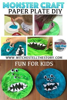 Monster Craft   Easy Kids DIY - Easy craft for children. This is a really easy craft for children to do. They can have fun painting paper plates, glue teeth on and add some wiggly eyes. Check out the full post for the full how to!!
