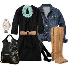 jean jacket with black dress & tan accessories.