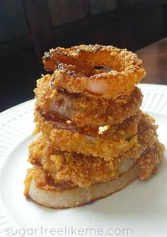 "Low Carb Onion Rings with pork rind ""breading"""