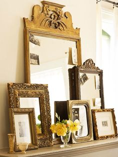 Use secondhand mirrors and frames to round out a mantel.