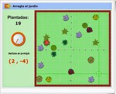 """""""Arregla el jardín"""" es un juego de educaplus en el que es necesario plantar en el jardín 20 plantas en un tiempo limitado de 2 minutos. Se ha de dominar el sistema de coordenadas cartesianas para la localización de los puntos en que se han de plantar."""